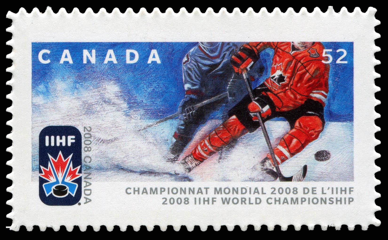2008 IIHF World Championship Canada Postage Stamp
