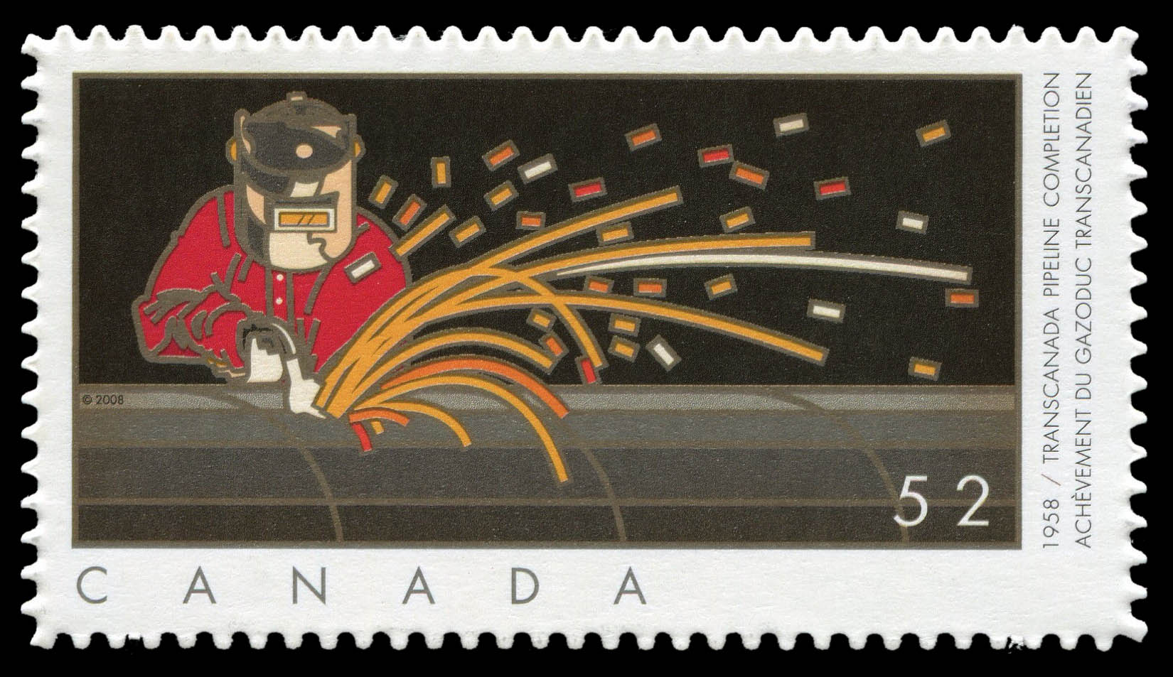 Transcanada Pipeline Completion - 1958 Canada Postage Stamp | Industries: Oil and Gas