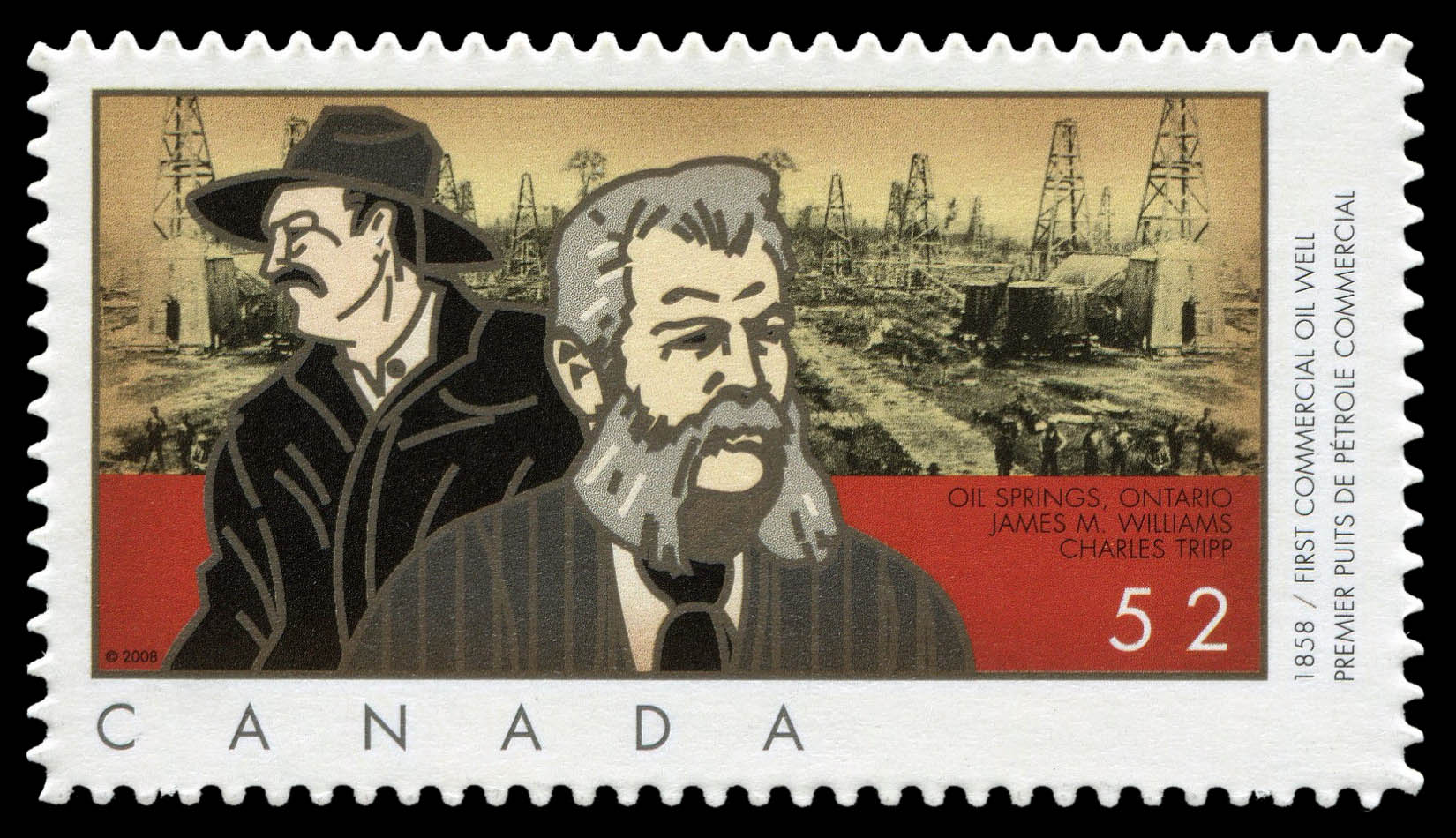 First Commercial Oil Well - 1858 Canada Postage Stamp | Industries: Oil and Gas