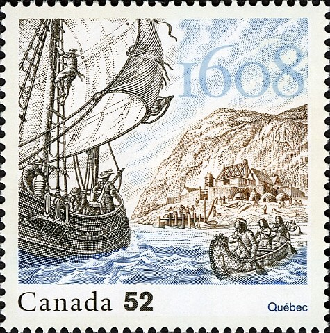 The Founding of Quebec Canada Postage Stamp | French settlements in North America