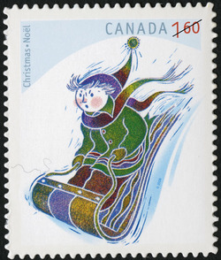 Tobogganing Canada Postage Stamp | Christmas: Winter Fun