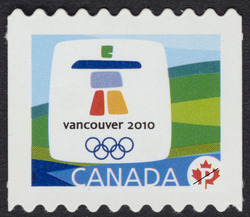Vancouver 2010 Olympic Winter Games emblem Canada Postage Stamp | Vancouver 2010 Winter Games Mascots and Emblems