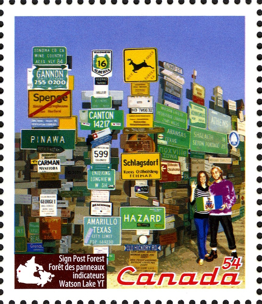 Sign Post Forest, Watson Lake, YT Canada Postage Stamp | Roadside Attractions