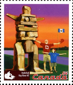 Inukshuk, Hay River, NT Canada Postage Stamp | Roadside Attractions