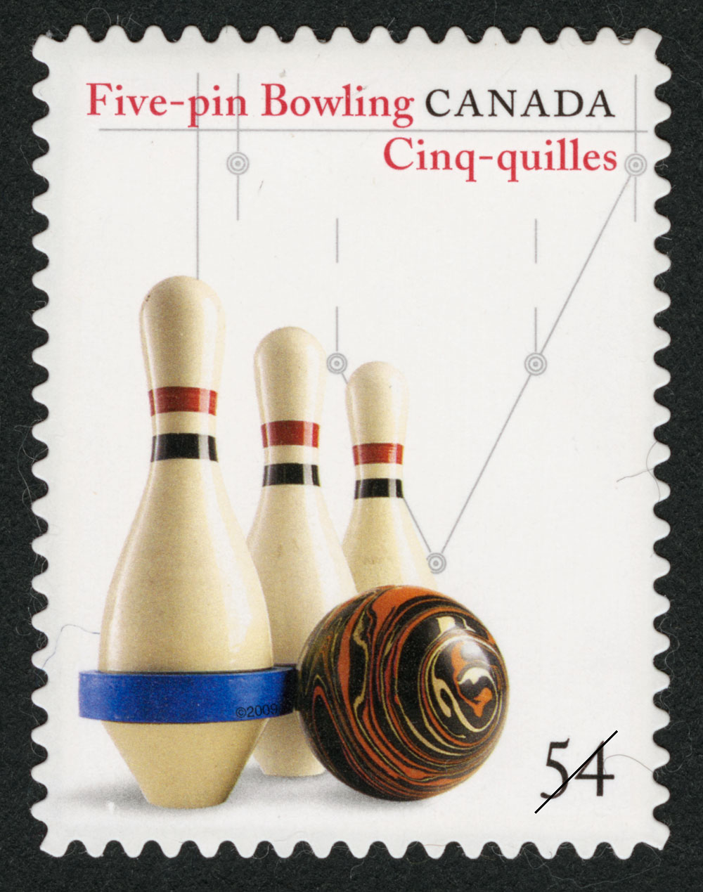 Five-Pin Bowling Canada Postage Stamp | Canadian Inventions: Sports