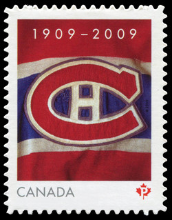 1909-2009 : Montreal Canadiens Canada Postage Stamp | Montreal Canadiens, 100th Anniversary