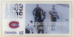 Maurice Richard, 1957.10.19 Canada Postage Stamp | Montreal Canadiens, 100th Anniversary
