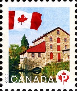 Old Stone Mill National Historic Site Canada Postage Stamp | Flag, Historic Mills