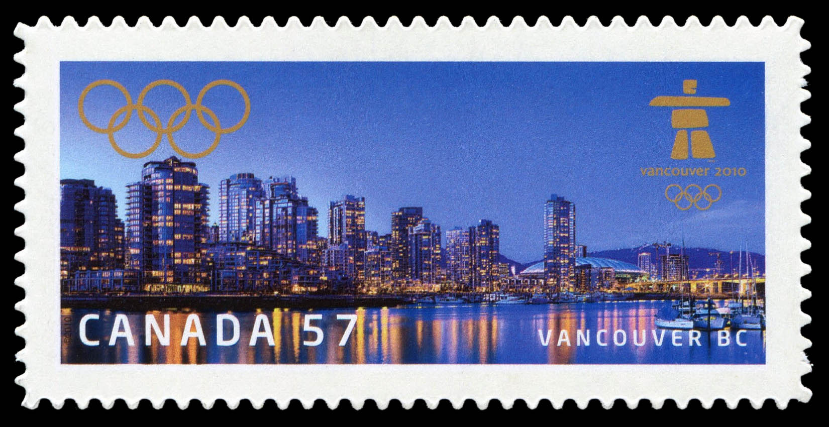 Vancouver BC Canada Postage Stamp   Vancouver 2010 Olympic Winter Games