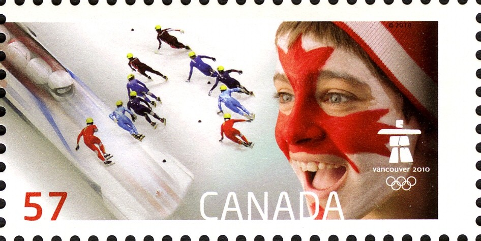 Men's short track relay speed skating Canada Postage Stamp | Celebrating our Olympic Spirit