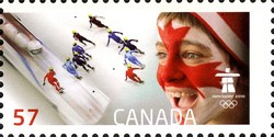 Men's short track relay speed skating Canada Postage Stamp