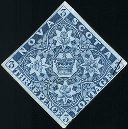Crown and Floral Emblems Nova Scotia Postage Stamp