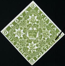 Crown and Floral Emblems Nova Scotia Postage Stamp