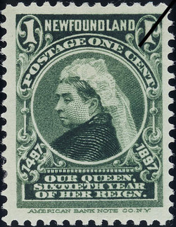 Queen Victoria, Our Queen, Sixtieth Year of Her Reign Newfoundland Postage Stamp | Cabot - 1497-1897