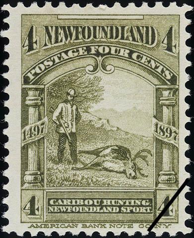 Caribou Hunting, Newfoundland Sport Newfoundland Postage Stamp | Cabot - 1497-1897