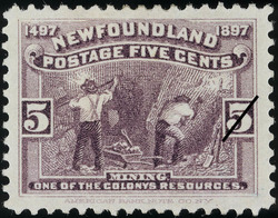 Mining, One of the Colony's Resources Newfoundland Postage Stamp | Cabot - 1497-1897