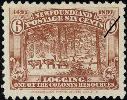 Logging, One of the Colony's Resources Newfoundland Postage Stamp | Cabot - 1497-1897
