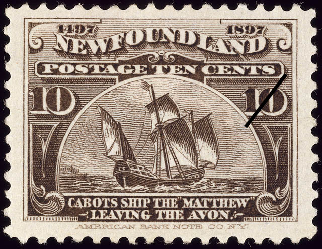 "Cabot's Ship the ""Matthew"" Leaving the Avon Newfoundland Postage Stamp 