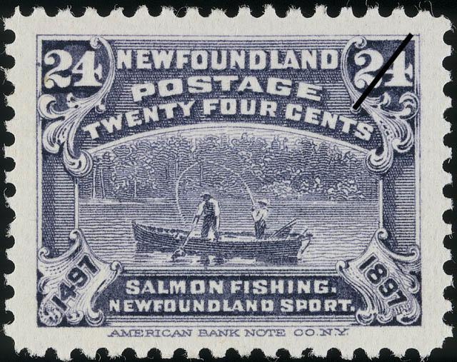 Salmon Fishing, Newfoundland Sport Newfoundland Postage Stamp | Cabot - 1497-1897