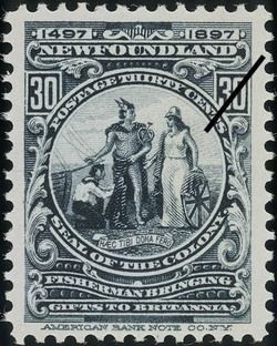 Seal of the Colony, Fisherman Bringing Gifts to Britannia, Haec tibi dona fero, These Gifts I Bring Thee Newfoundland Postage Stamp | Cabot - 1497-1897