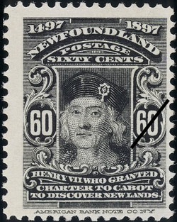 Henry VII who Granted Charter to Cabot to Discover New Lands Newfoundland Postage Stamp | Cabot - 1497-1897
