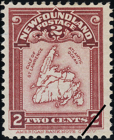 Map of Newfoundland Newfoundland Postage Stamp