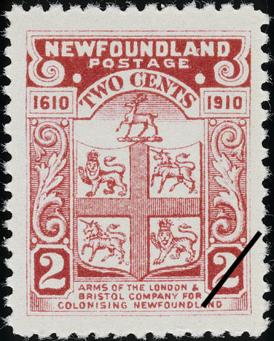 Arms of the London & Bristol Company for Colonizing Newfoundland Newfoundland Postage Stamp | Guy Tercentenary