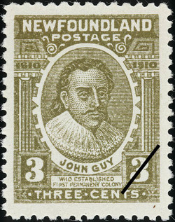 John Guy who Established First Permanent Colony Newfoundland Postage Stamp | Guy Tercentenary
