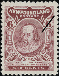Lord Bacon, The Guiding Spirit in Colonization Scheme Newfoundland Postage Stamp | Guy Tercentenary