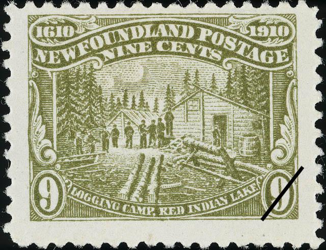 Logging Camp, Red Indian Lake Newfoundland Postage Stamp | Guy Tercentenary