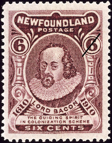 Lord Bacon, The Guiding Spirit in Colonization Scheme Newfoundland Postage Stamp