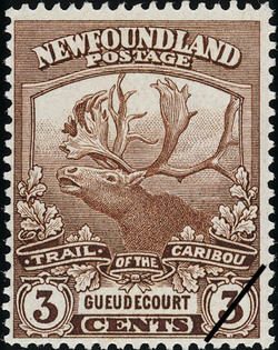 Trail of the Caribou, Gueudecourt Newfoundland Postage Stamp | Caribou