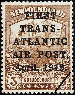 First Trans-Atlantic Air Post, April, 1919. Newfoundland Postage Stamp