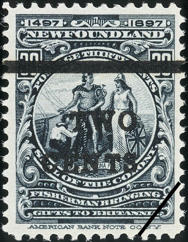 Seal of the Colony, Fisherman Bringing Gifts to Britannia, Haec tibi dona fero, These Gifts I Bring Thee Newfoundland Postage Stamp