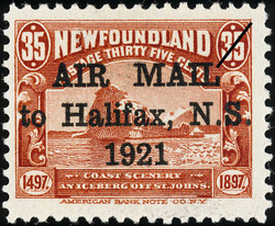 Air Mail to Halifax, N.S. 1921 Newfoundland Postage Stamp