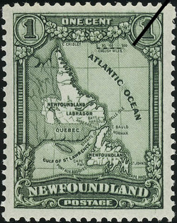 Map of Newfoundland Including Labrador Newfoundland Postage Stamp
