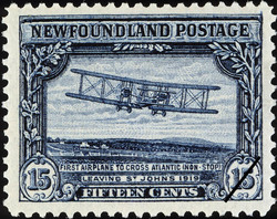 First Airplane to Cross Atlantic (Non-Stop), Leaving St. John's, 1919 Newfoundland Postage Stamp