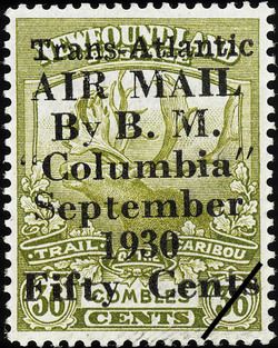 "Trans-Atlantic Air Mail by B.M. ""Columbia"", September 1930 Newfoundland Postage Stamp"