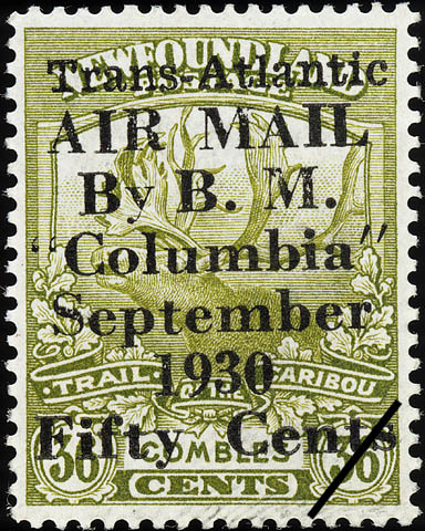 """Trans-Atlantic Air Mail by B.M. """"Columbia"""", September 1930 Newfoundland Postage Stamp"""