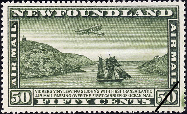 Vickers Vimy Leaving St. John's with First Transatlantic Air Mail Passing Over the First Carrier of Ocean Mail, Air Mail Newfoundland Postage Stamp
