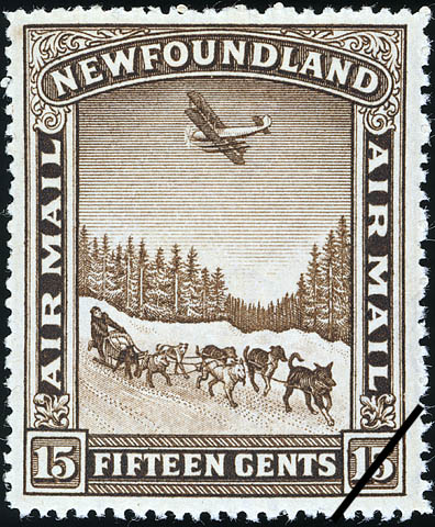 Courier with Dog Team and Aeroplane Flying Overhead, Air Mail Newfoundland Postage Stamp