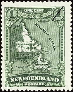 Map of Newfoundland Including Labrador Newfoundland Postage Stamp