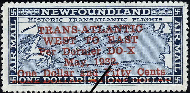 Trans-Atlantic West to East per Dornier DO-X, May 1932, Air Mail Newfoundland Postage Stamp