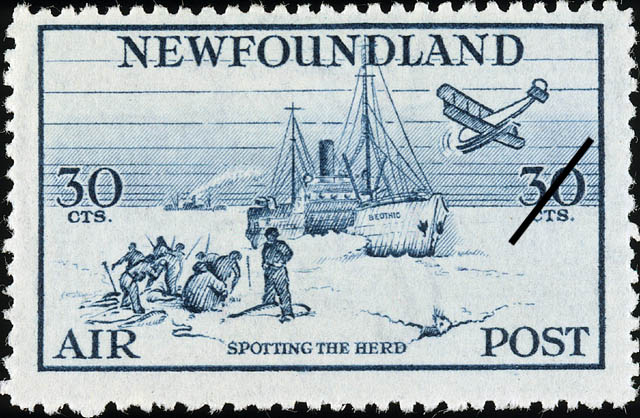 Spotting the Herd, Air Newfoundland Postage Stamp | Air Post