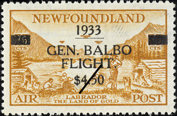 General Balbo Flight, Labrador, The Land of Gold, Air Newfoundland Postage Stamp | Air Post