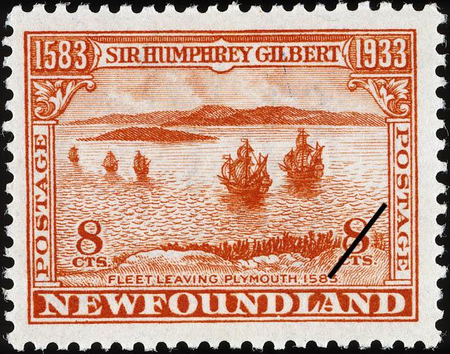 Fleet Leaving Plymouth, 1583 Newfoundland Postage Stamp | Sir Humphrey Gilbert