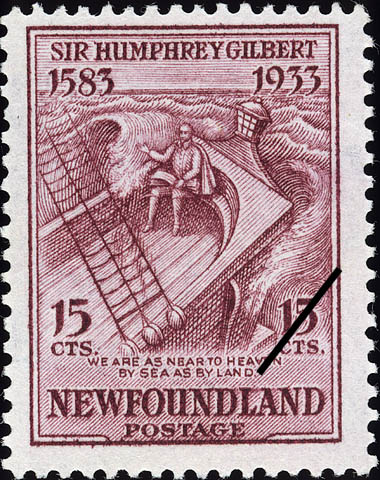 We are as near to Heaven by Sea as by Land Newfoundland Postage Stamp | Sir Humphrey Gilbert