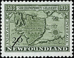 Map of Newfoundland Newfoundland Postage Stamp | Sir Humphrey Gilbert