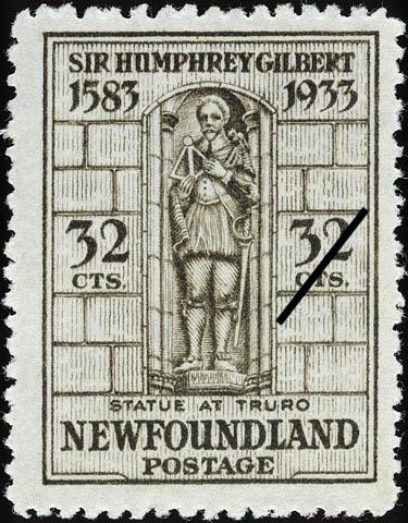 Statue at Truro Newfoundland Postage Stamp | Sir Humphrey Gilbert
