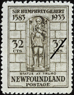 Statue at Truro Newfoundland Postage Stamp | Sir Humphrey Gilbert